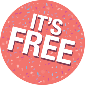 its' free icon with confetti background